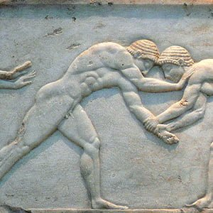 Carving of two wrestlers - Health and Fitness History