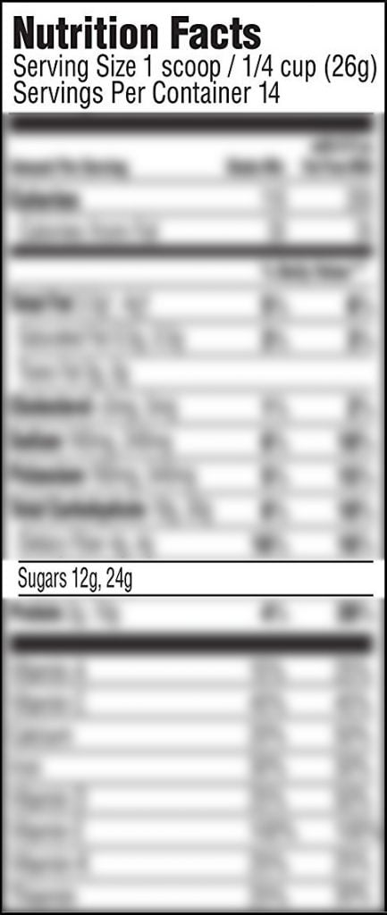 Protein Powder Nutrition Label with 12 Grams of Sugar per Quarter Cup