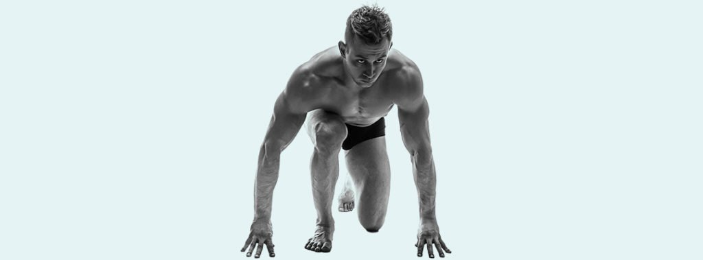 athletic man crouching