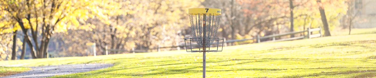a disc golf basket in the middle of a course