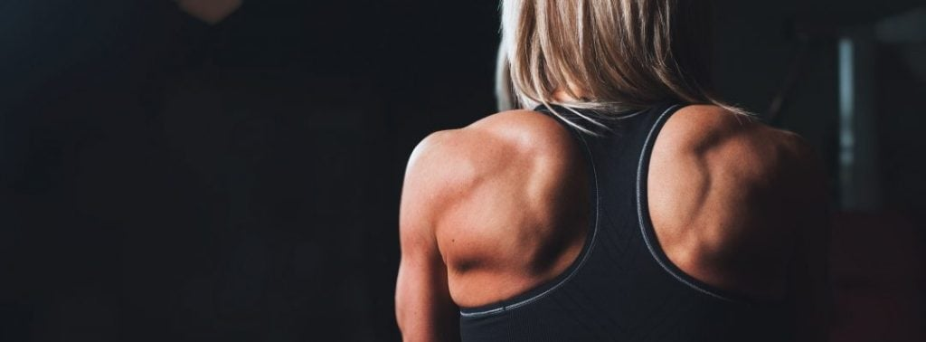 Closeup of a woman's muscular shoulders